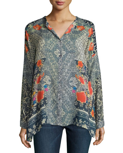 Lotte Long-Sleeve Printed Blouse, Plus Size