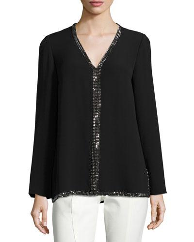 Mallet Long-Sleeve Embellished Silk Tunic, Black