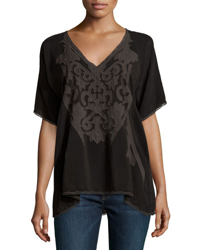 Sheradon Short-Sleeve Embroidered Top, Plus Size