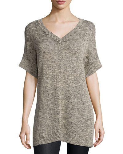 Textured Organic Linen Tunic, Natural