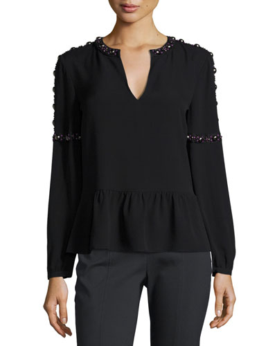 Mezzair Embellished Split-Neck Silk Blouse