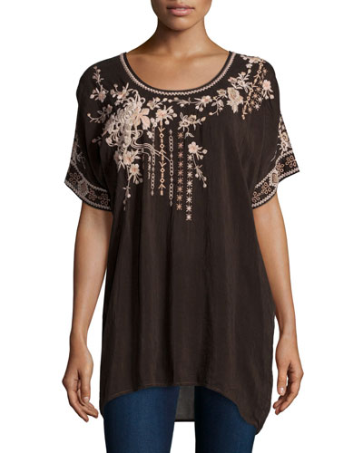 Oasis Short-Sleeve Embroidered Tunic, Dark Cocoa