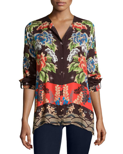 Lotte Long-Sleeve Printed Challis Blouse, Plus Size
