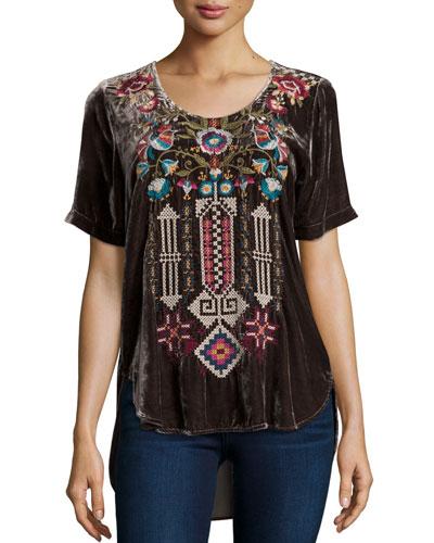 Dani Short-Sleeve Embroidered Velvet Tee, Plus Size