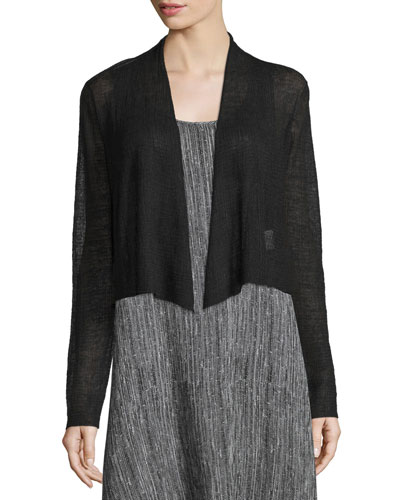 Sheer Hemp Cropped Cardigan, Black