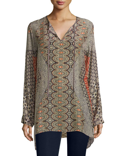 Breeland Printed Tie-Front Tunic, Multi