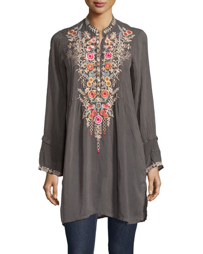 Arianna Long-Sleeve Embroidered Tunic, Iron, Plus Size