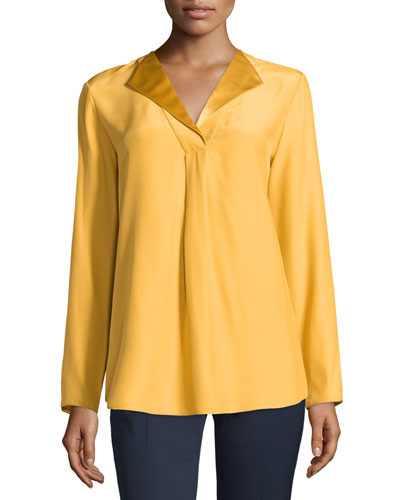 Shiela Split-Neck Silk Blouse, Mustard