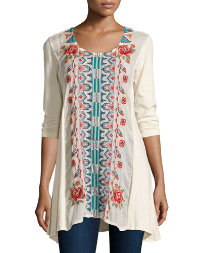 Harlow Embroidered Long Tunic, Plus Size