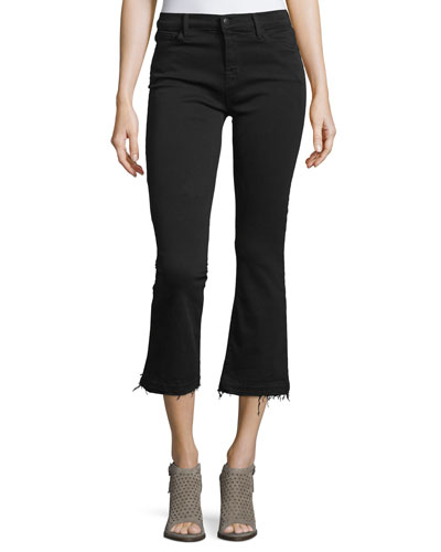 Selena Cropped Boot-Cut Jeans, Black
