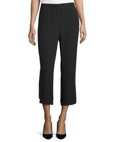 Silk Georgette Straight-Leg Pants, Black