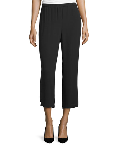 Silk Georgette Straight-Leg Pants, Black, Petite