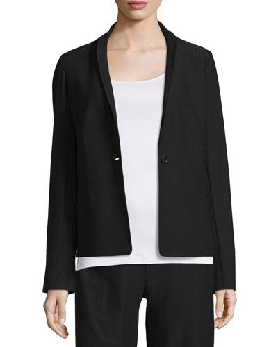 Washable Crepe One-Button Blazer, Plus Size
