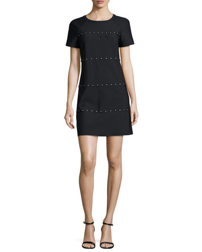 Waterbury Short-Sleeve Studded Shift Dress, Black