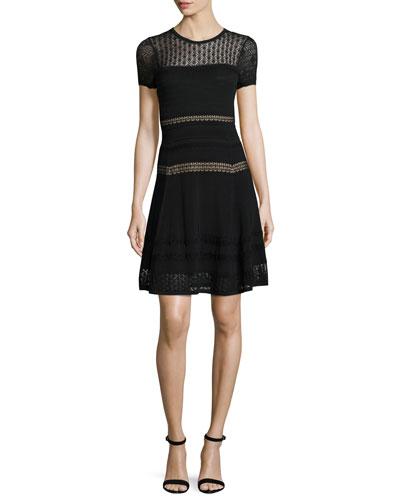 Celina Pointelle Party Dress, Black