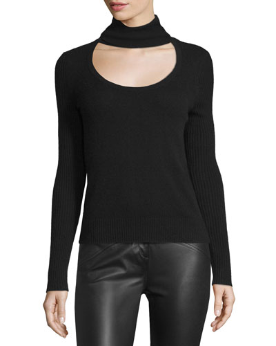 Gracey Cutout-Front Turtleneck Sweater