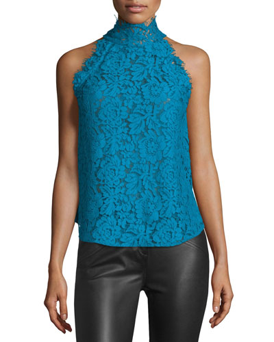 Jemmie Floral Lace High-Neck Top, Peacock