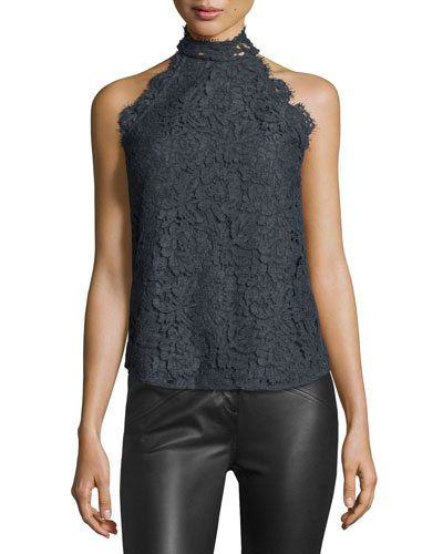 Jemmie Floral Lace High-Neck Top, Gray Melange