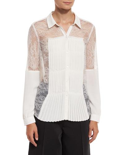 Watson Pleat-Detail Lace Shirt, Off White
