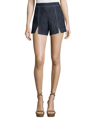 Meghan Contrast-Stitch Shorts, Indigo