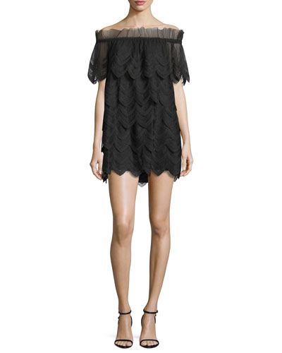 Ali Off-the-Shoulder Lace Dress, Black