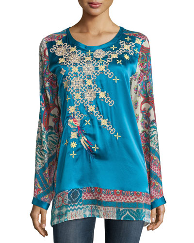 Fly Embroidered Mix-Print Silk Top, Petite