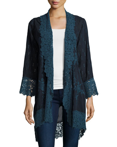 Lolita Lacy Georgette Jacket, Navy Shadow, Plus Size