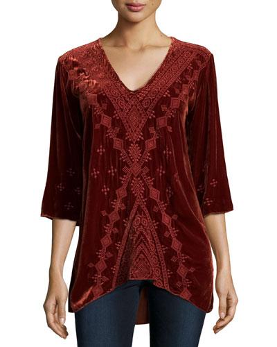 Shobah 3/4-Sleeve Embroidered Velvet Tunic, Rust, Petite