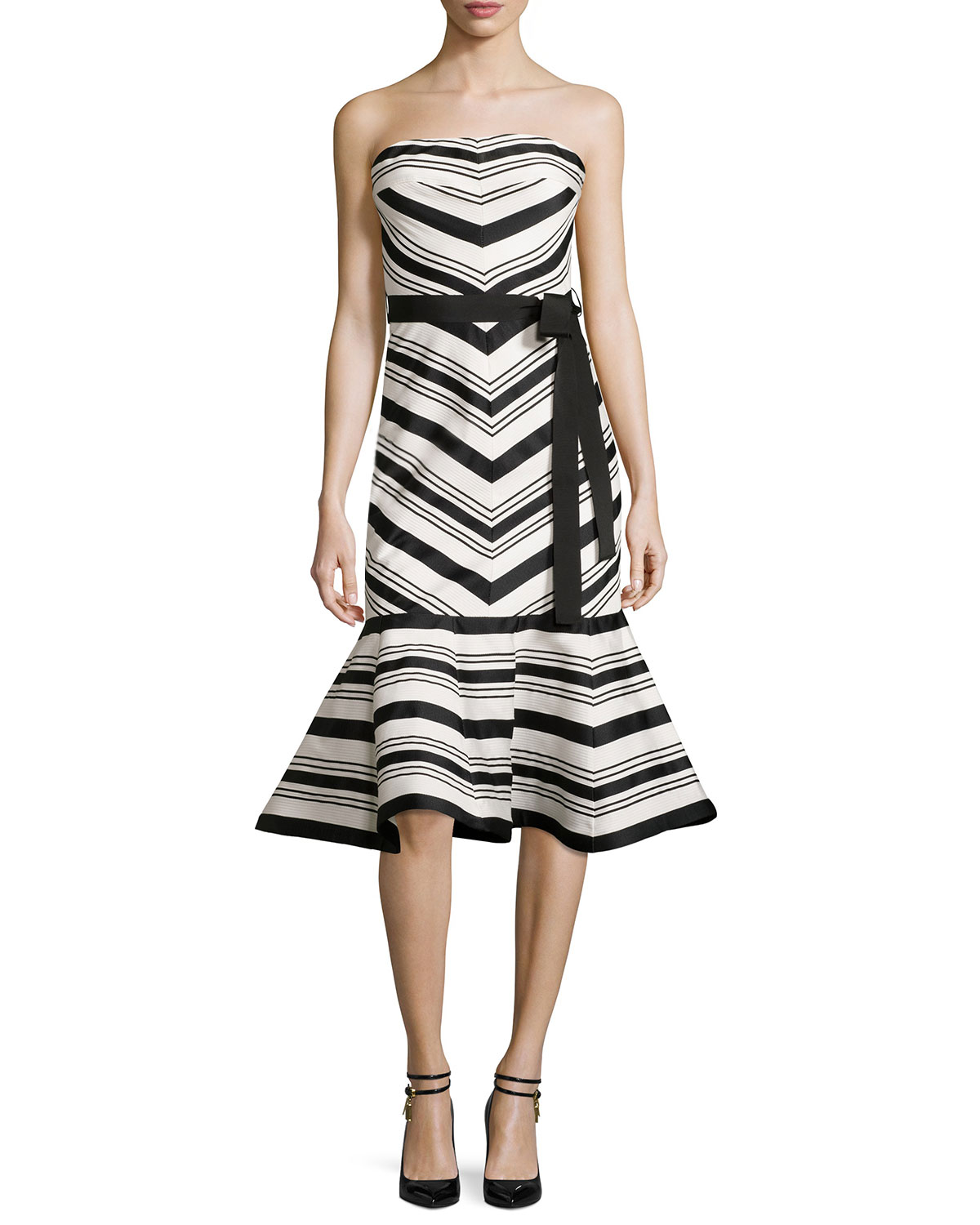 Kirsten Striped Strapless Cocktail Dress, Black/White