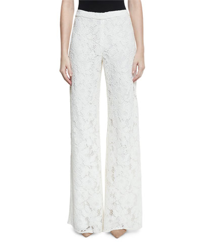 Rina Lace Side-Slit Wide-Leg Pants