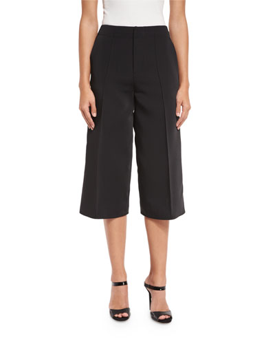 Jossie Wide-Leg Cropped Pants, Black
