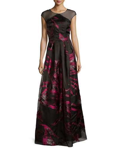 Cap-Sleeve Pleated Floral Metallic Gown, Black/Pink