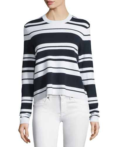 Sculpture Striped Long-Sleeve Tee, Navy/Blanc