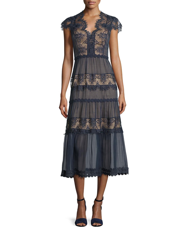 Cap-Sleeve Tiered Lace Midi Dress, Dark Navy/Almond