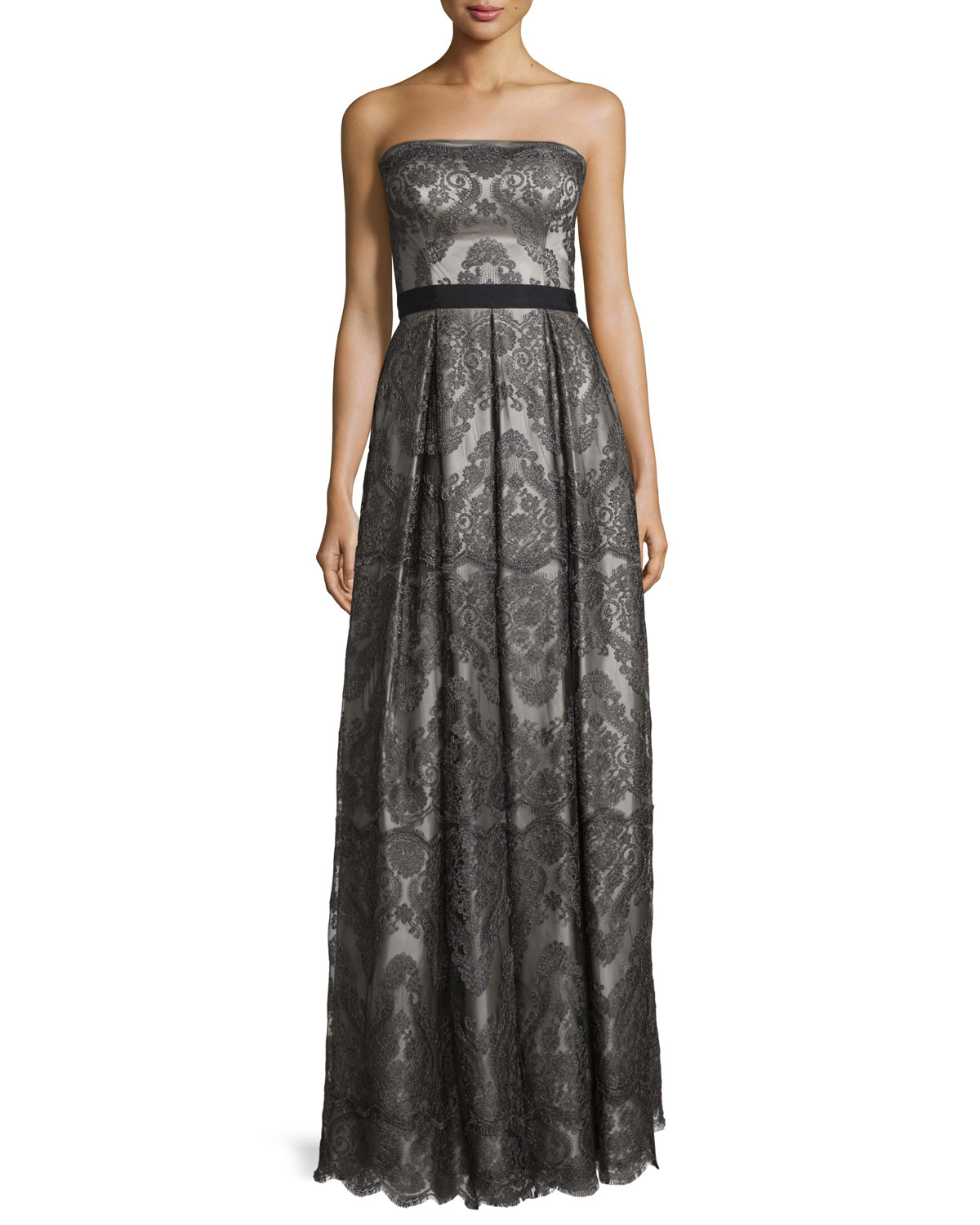 Strapless Pleated Metallic Lace Gown, Gunmetal/Silver