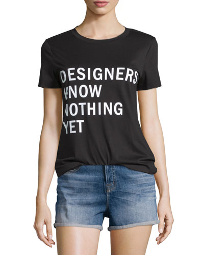 Designers Know Nothing Yet Jersey Tee, Black
