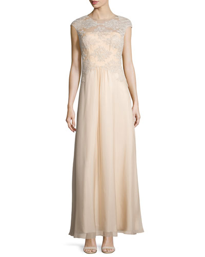 Embroidered Tulle Silk Gown, Champagne