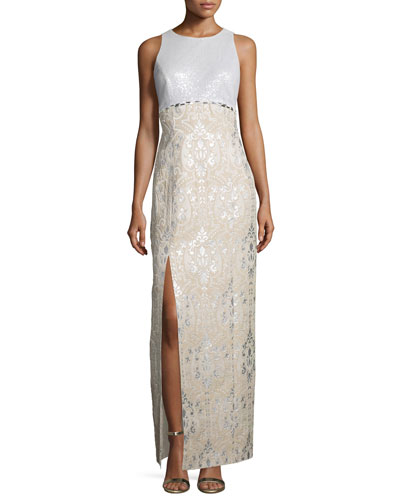 Sequined-Bodice Sleeveless Gown, Multi