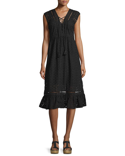 Embroidered Eyelet Lace-Up Midi Coverup Dress, Black