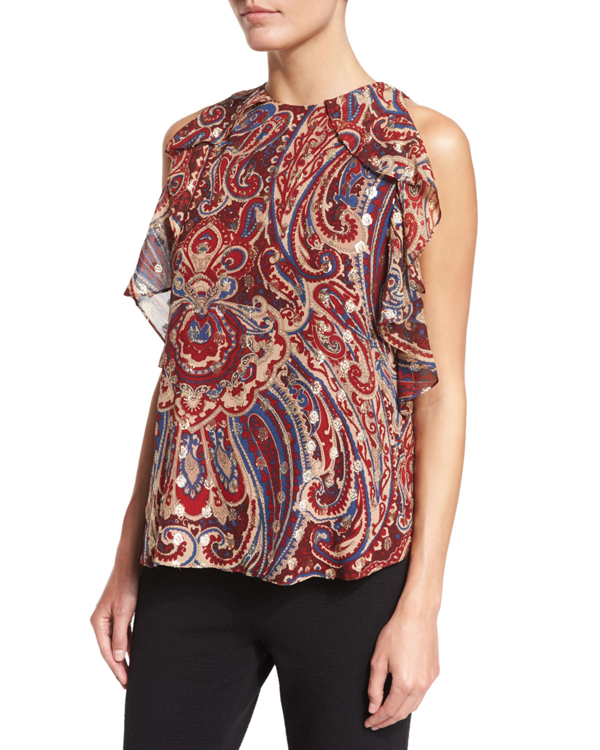 Haute Hippie SLEEVELESS PAISLEY TIERED RUFFLE TANK, KENNEDY METALLIC