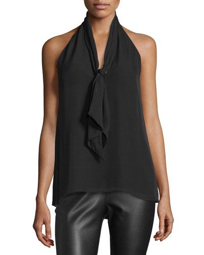 Sleeveless Silk Tie-Front Top, Black