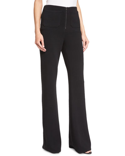 High-Rise Flare Pants, Black