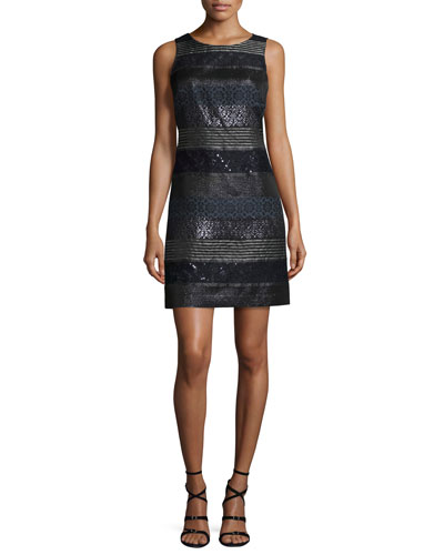 Mixed Media A-Line Jacquard Dress, Navy/Multi