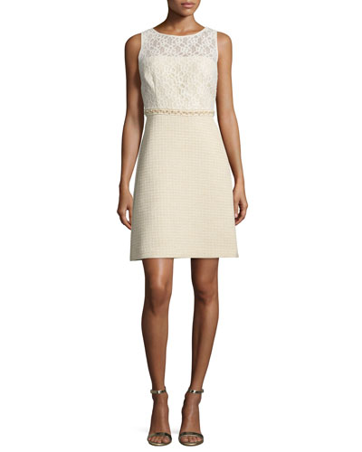 Tweed and Lace Combo Dress, Ivory