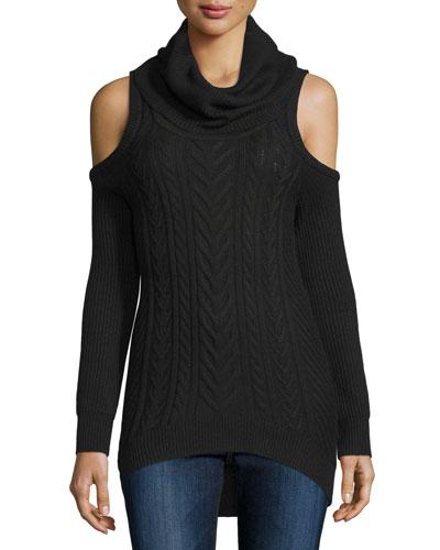 Cold-Shoulder Turtleneck Pullover Sweater, Black