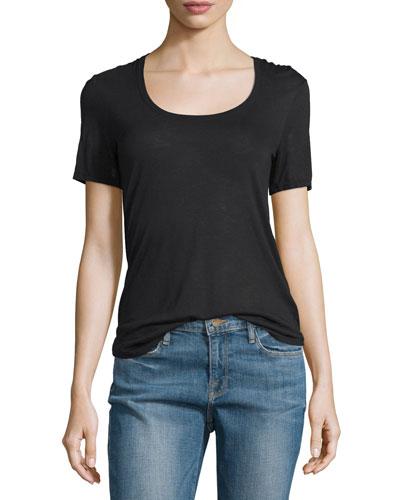 Short-Sleeve Sweetheart Jersey Tee, Black