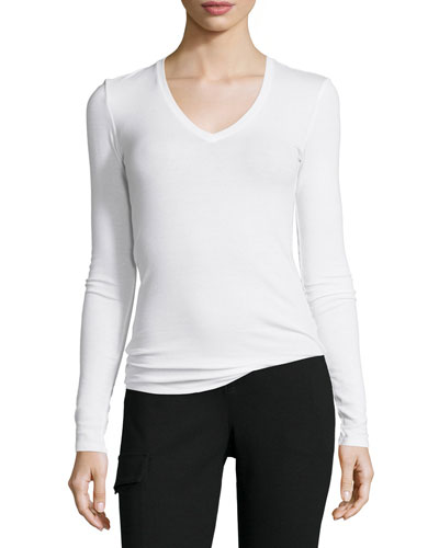 Long-Sleeve Ribbed Jersey Tee, White