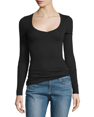 Long-Sleeve Ribbed Jersey Tee, Black