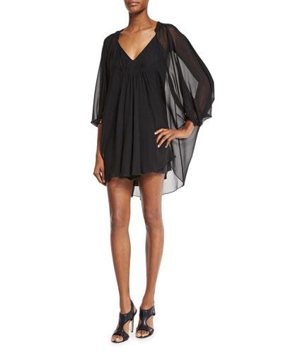 Fleurette Silk Mini Dress, Black