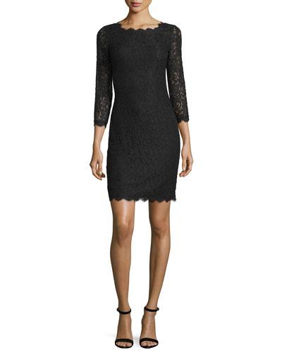 Zarita 3/4-Sleeve Lace Sheath Dress, Black